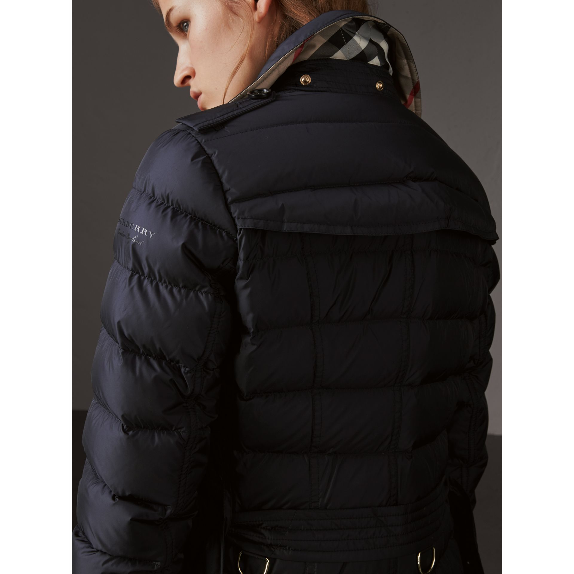 Detachable Hood Fur Trim Down-filled Puffer Coat in Navy - Women | Burberry Hong Kong - gallery image 5