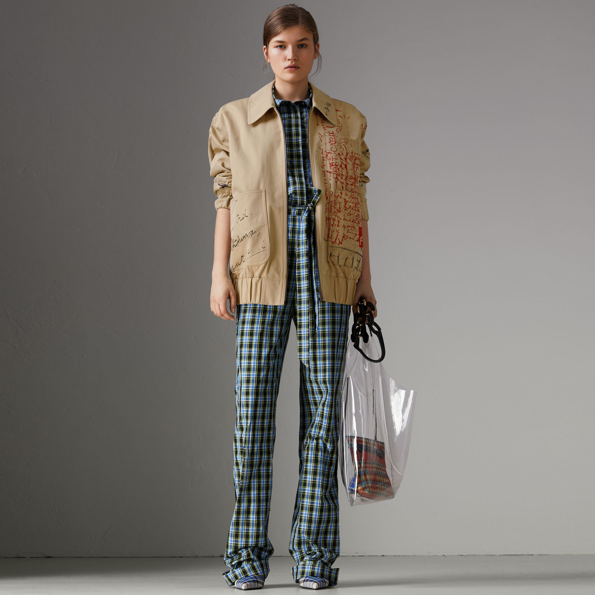 Postcard Print Tropical Gabardine Harrington Jacket in Honey - Women | Burberry - gallery image 0