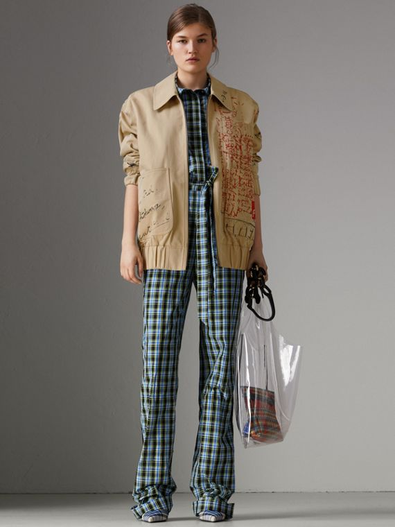 Postcard Print Tropical Gabardine Harrington Jacket in Honey
