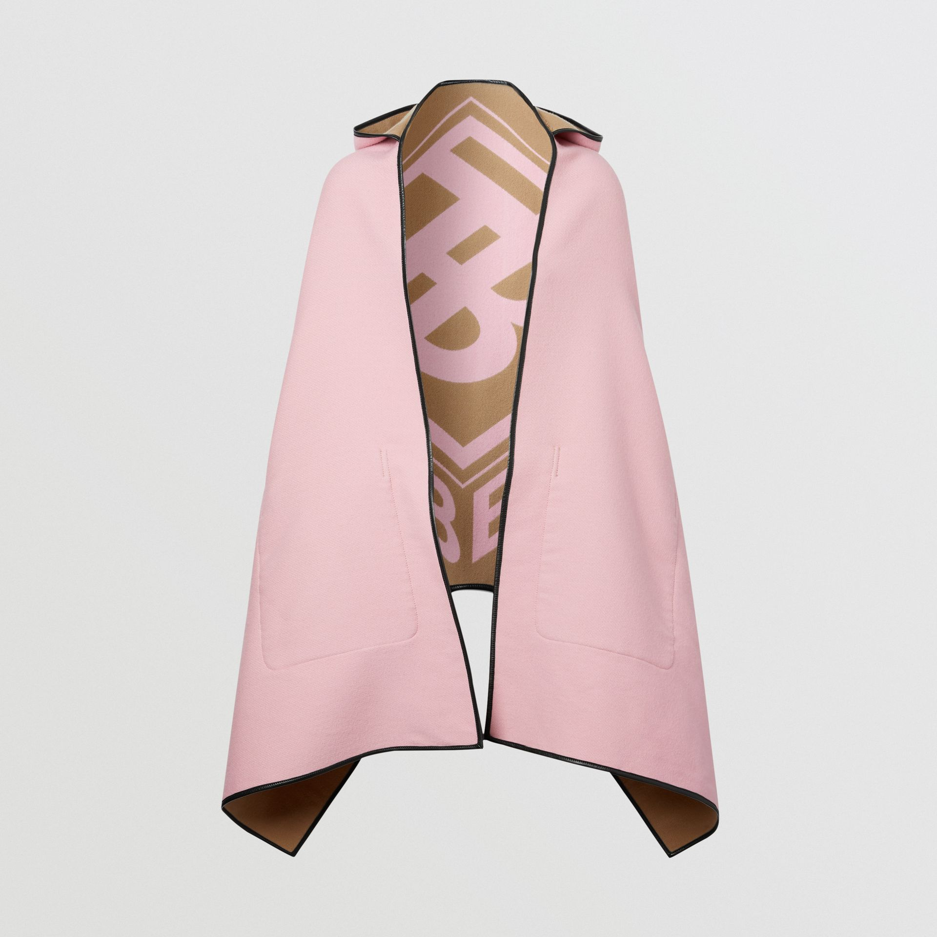 Logo Graphic Wool Cotton Jacquard Hooded Cape in Archive Beige | Burberry - gallery image 5