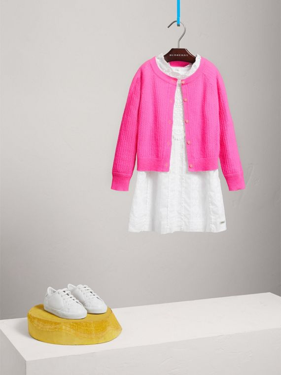 Open-stitch Knitted Cashmere Cardigan in Neon Pink