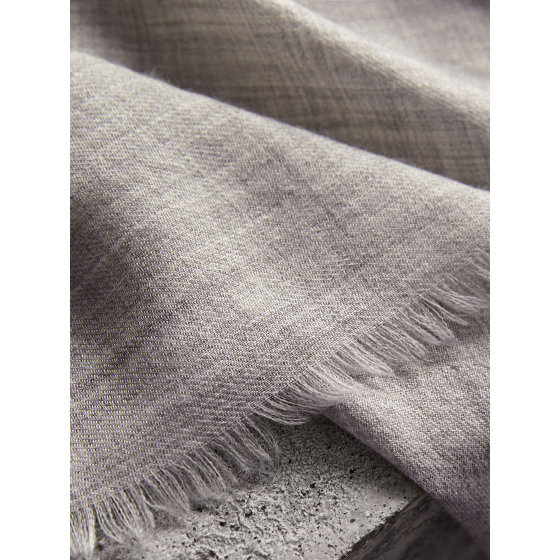 The Lightweight Cashmere Scarf in Pale Grey | Burberry Canada - gallery image 2