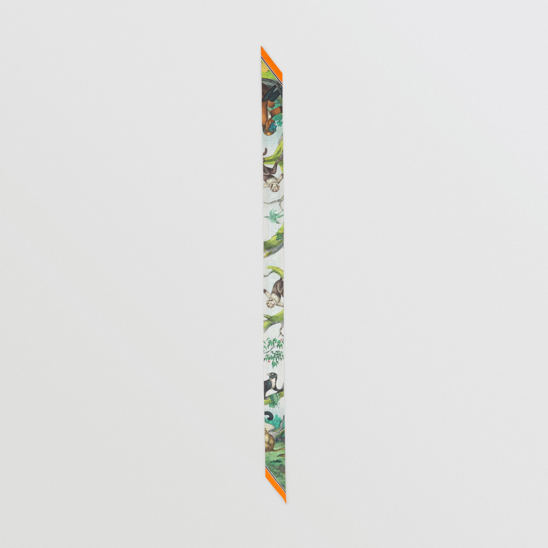 Monkey Print Silk Skinny Scarf in Light Opal Green | Burberry - gallery image 5