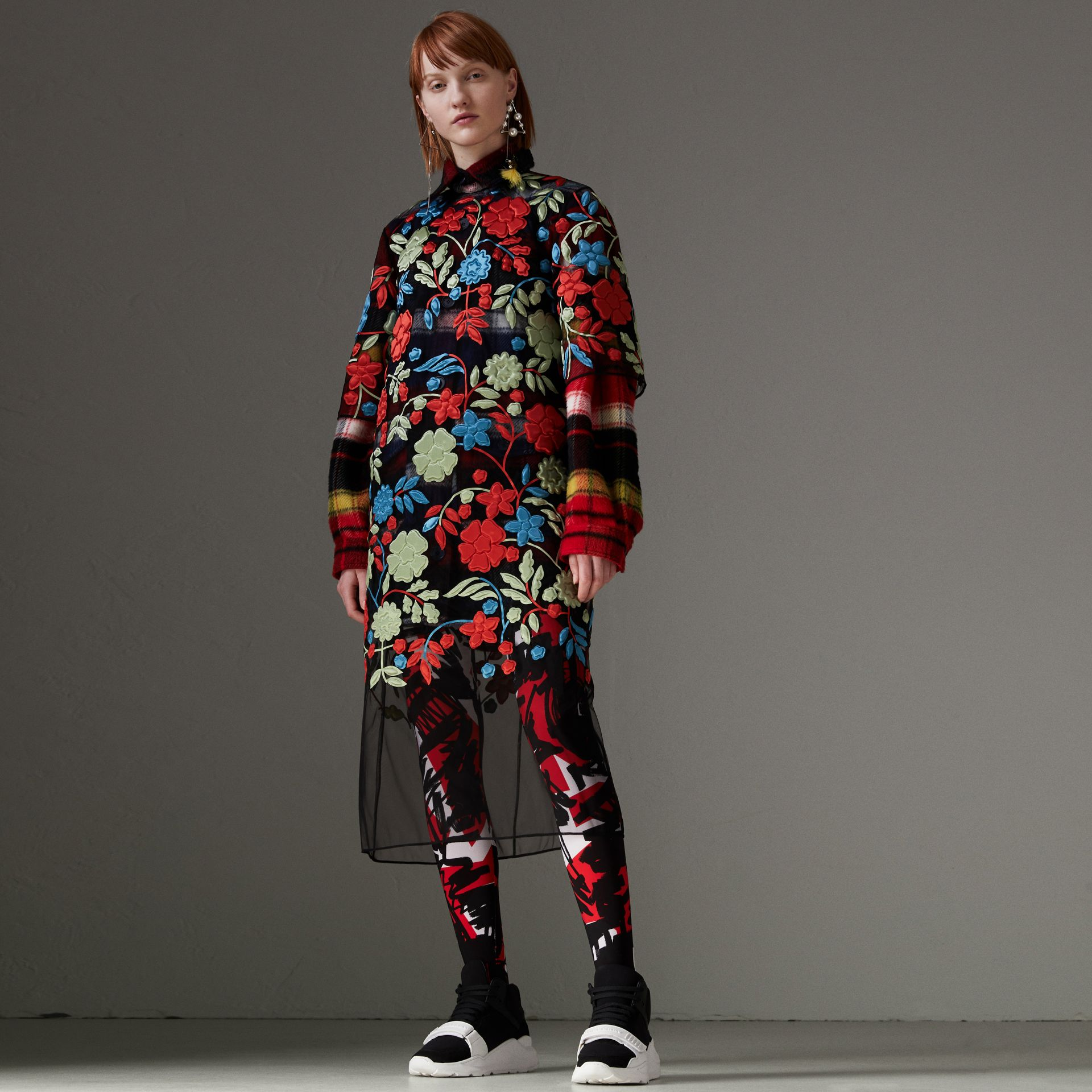 Graffiti Print Leggings in Bright Red - Women | Burberry - gallery image 0