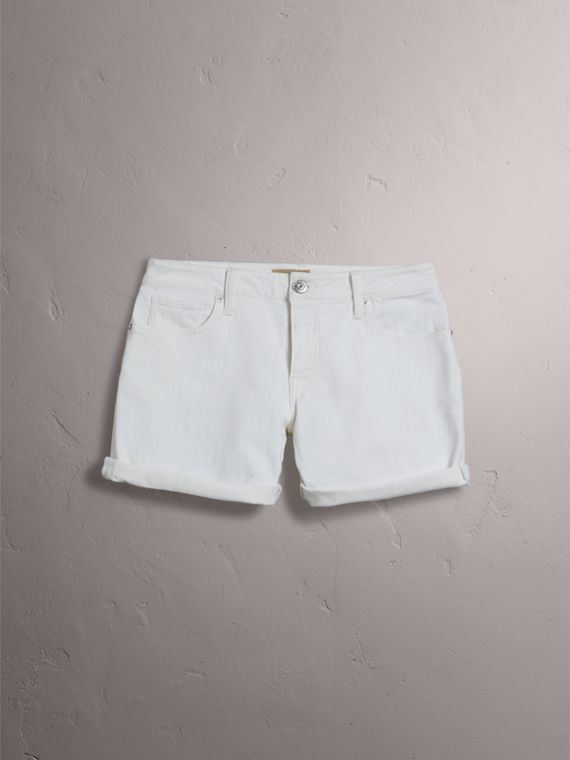 Low-rise Power-stretch Denim Shorts in White - Women | Burberry - cell image 3