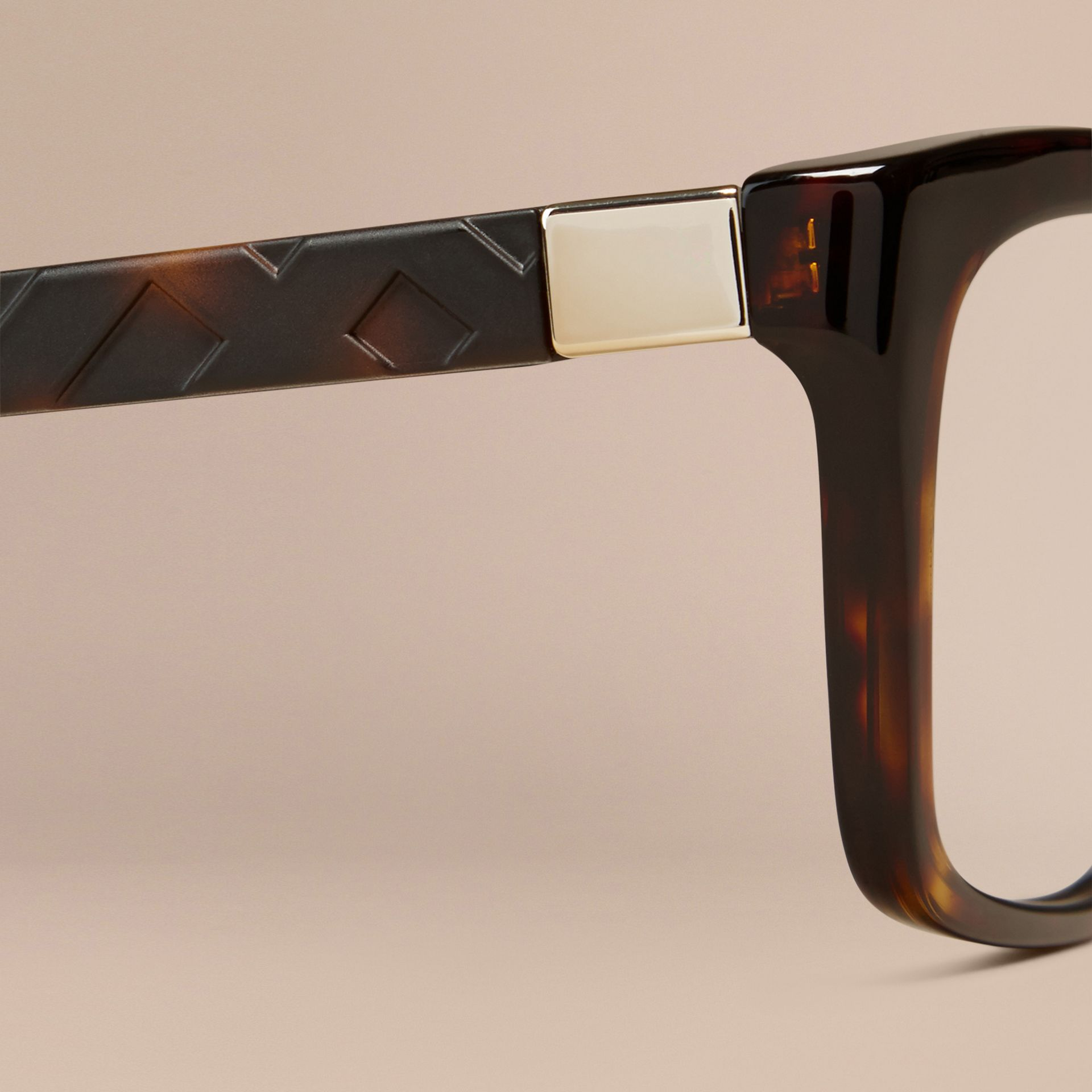 Tortoiseshell Check Detail Rectangular Optical Frames Tortoiseshell - gallery image 5