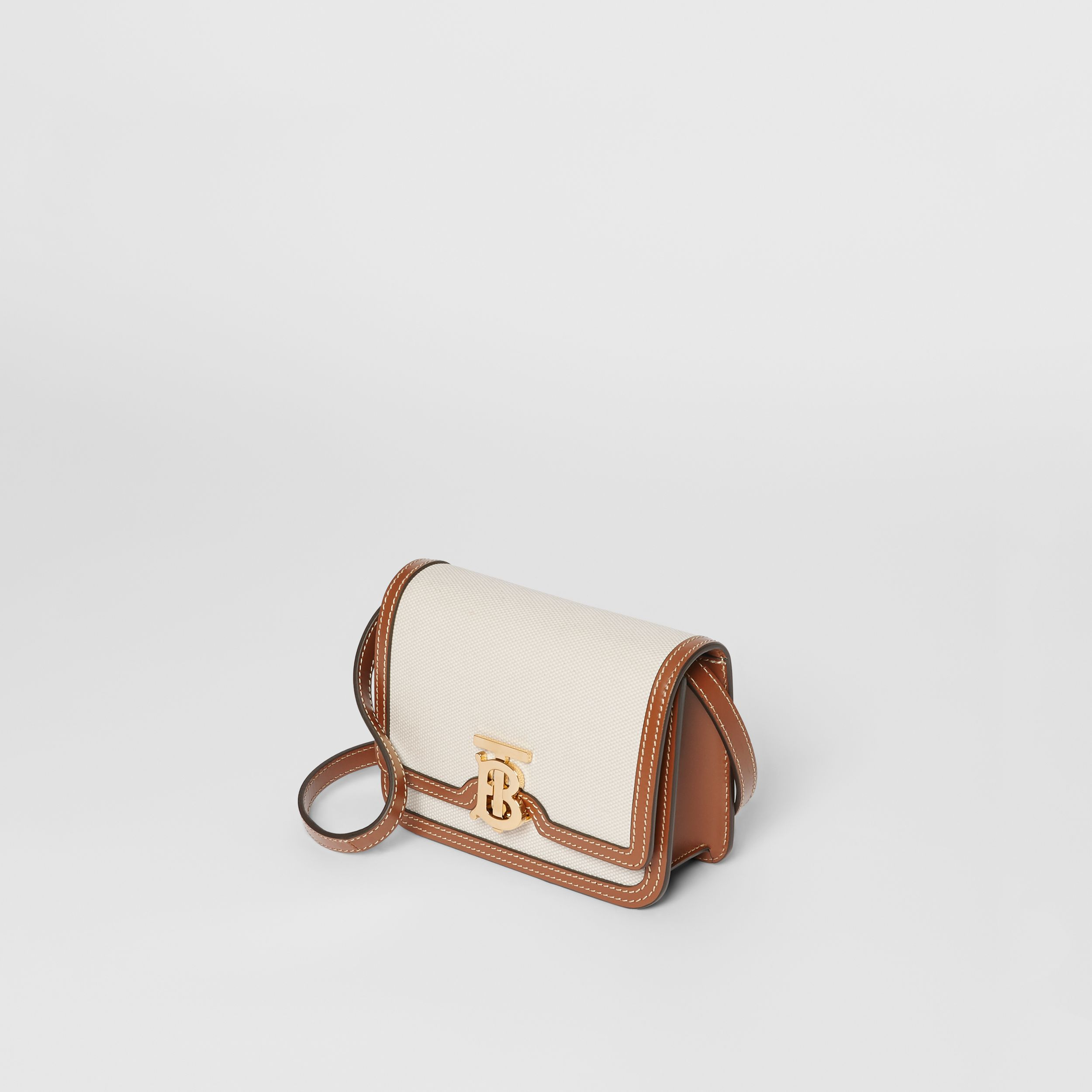 Mini Two-tone Canvas and Leather TB Bag in Natural/malt Brown - Women | Burberry - 4
