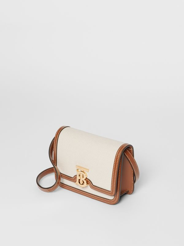 Mini Two-tone Canvas and Leather TB Bag in Natural/malt Brown - Women | Burberry Hong Kong S.A.R. - cell image 3