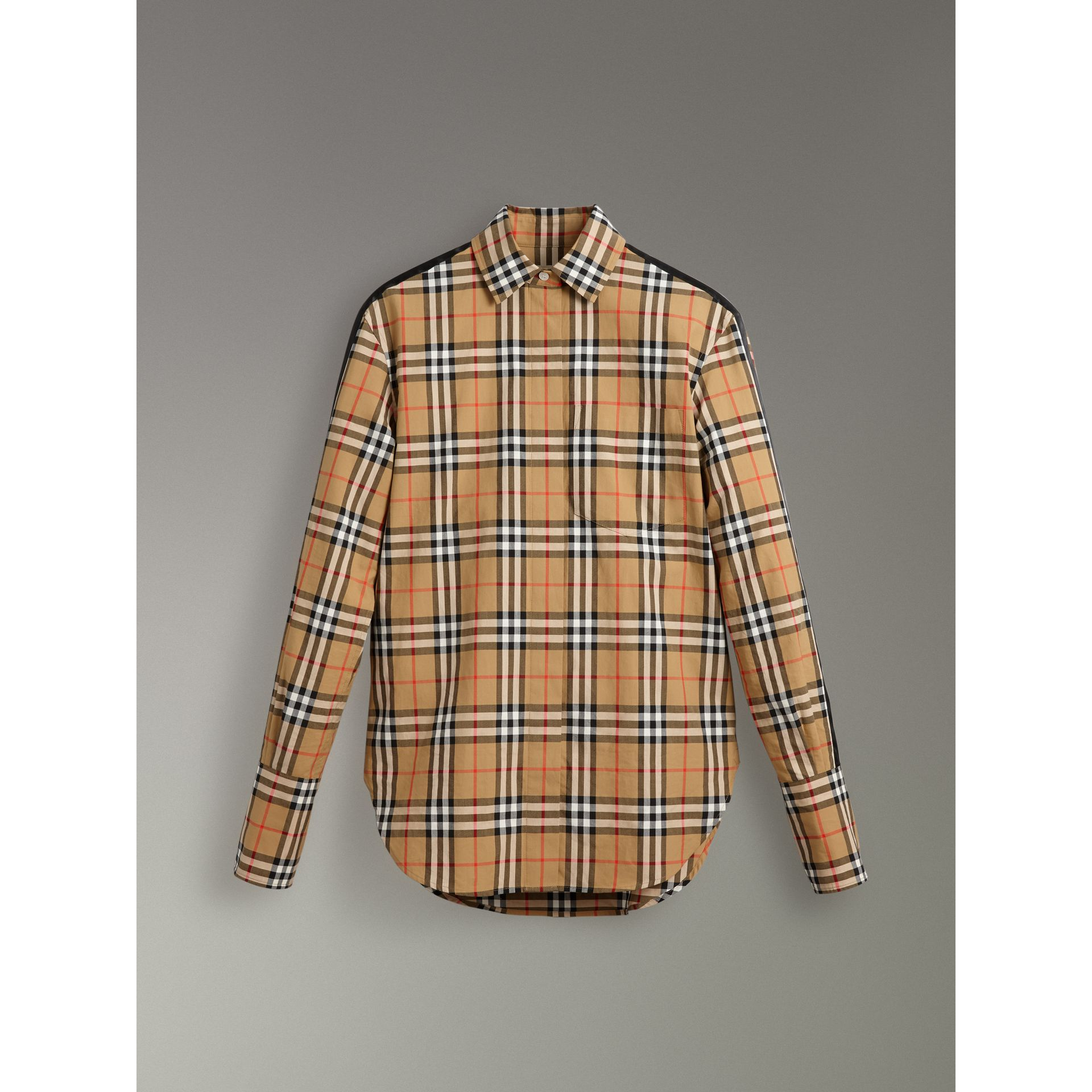 Stripe Detail Vintage Check Cotton Shirt in Antique Yellow - Women | Burberry Singapore - gallery image 3