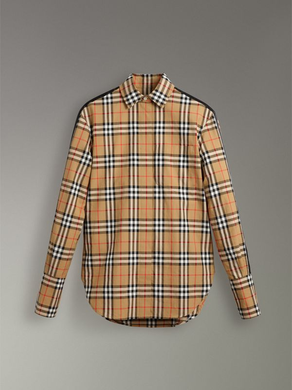Stripe Detail Vintage Check Cotton Shirt in Antique Yellow - Women | Burberry Singapore - cell image 3
