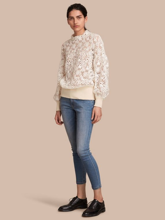 Ribbed Detail Voluminous Lace Top in Antique White