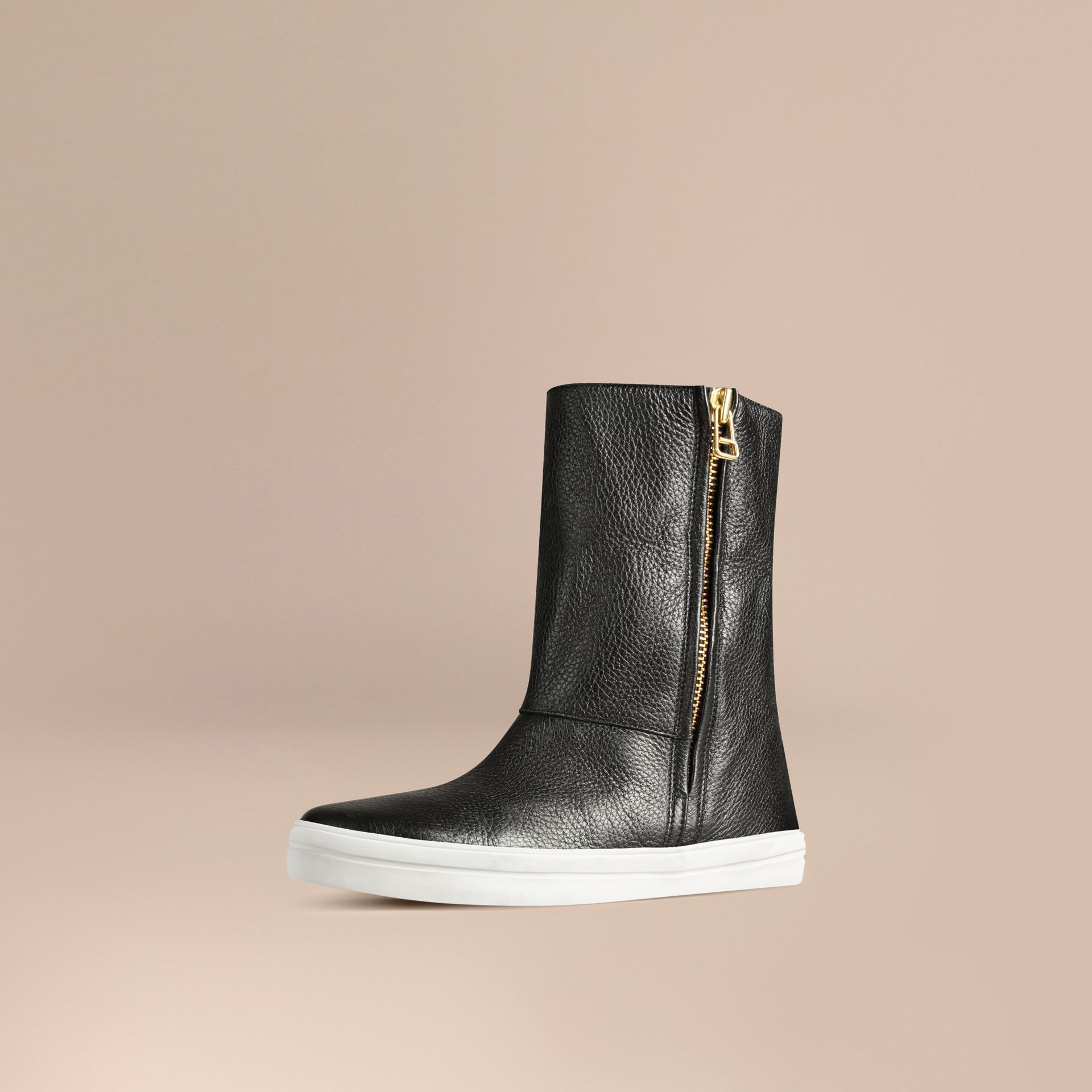 Shearling-lined Grainy Leather Ankle Boots in Black - Women | Burberry - gallery image 2
