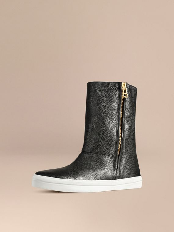 Shearling-lined Grainy Leather Ankle Boots in Black - Women | Burberry - cell image 2