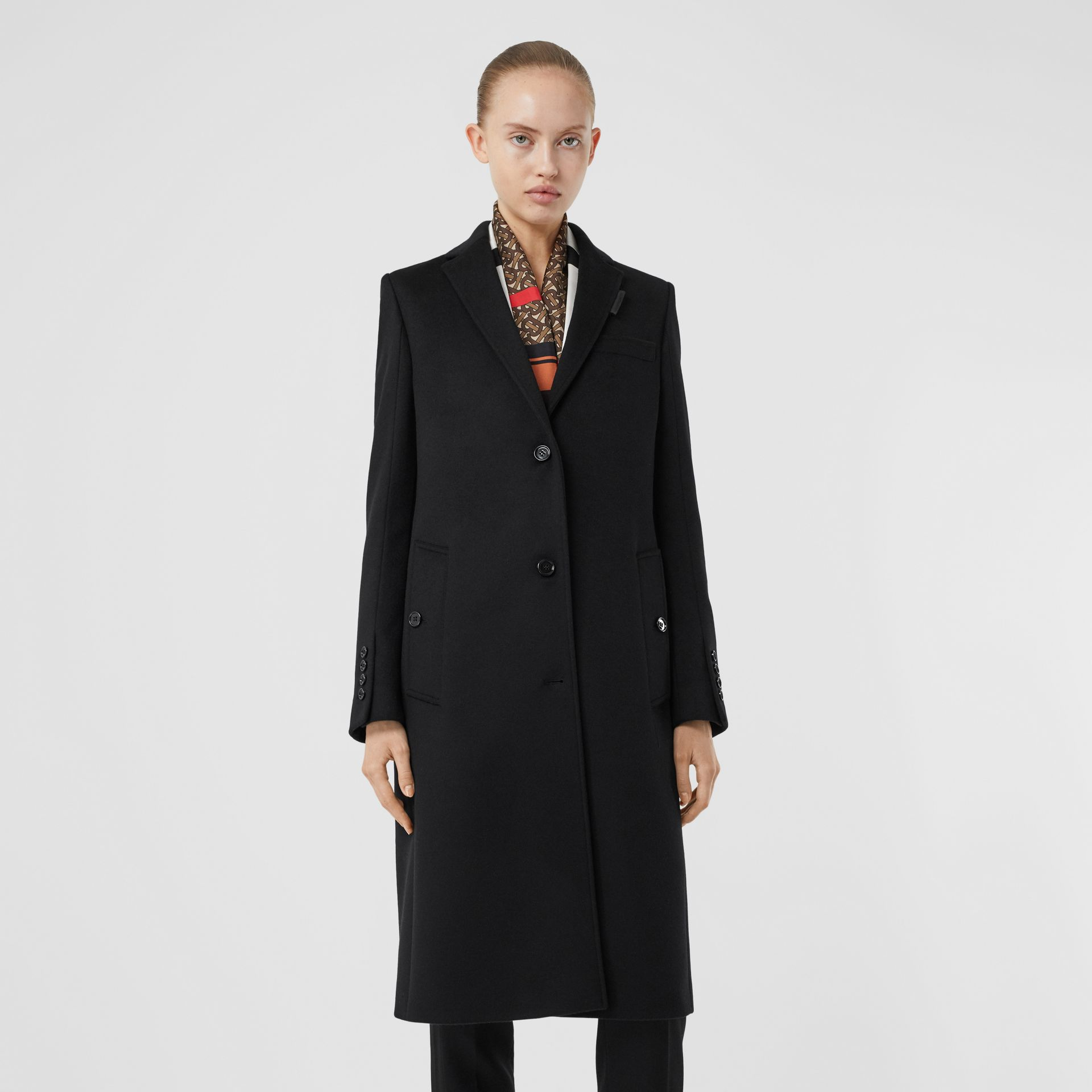 Wool Cashmere Tailored Coat in Black - Women | Burberry - gallery image 6