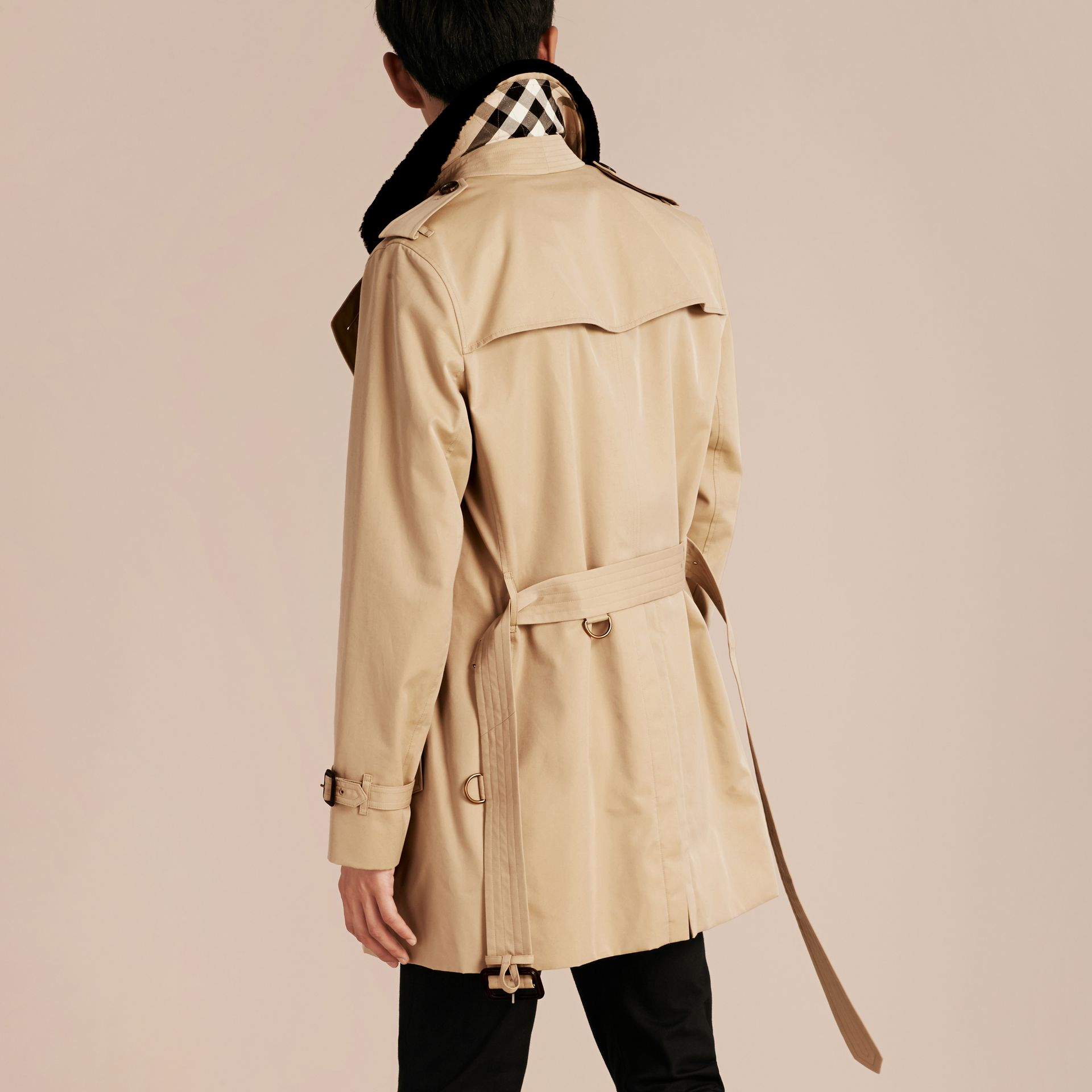 Detachable Shearling Topcollar Cotton Gabardine Trench Coat with Warmer in Honey - gallery image 3