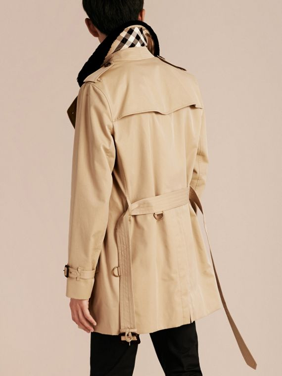 Detachable Shearling Topcollar Cotton Gabardine Trench Coat with Warmer in Honey - cell image 2