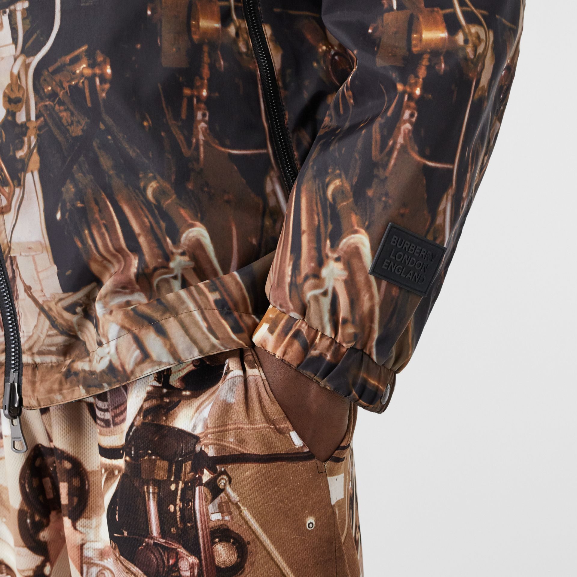 Reversible Submarine Print Nylon Hooded Jacket in Bronze - Men | Burberry - gallery image 4