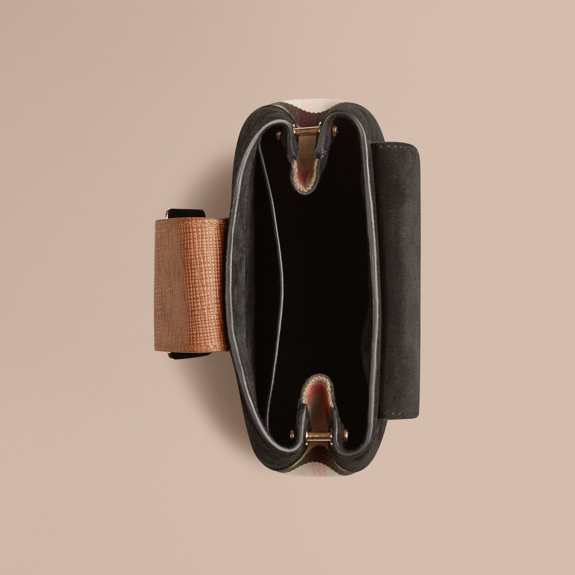 Black The Small Square Buckle Bag in English Suede and House Check - gallery image 5