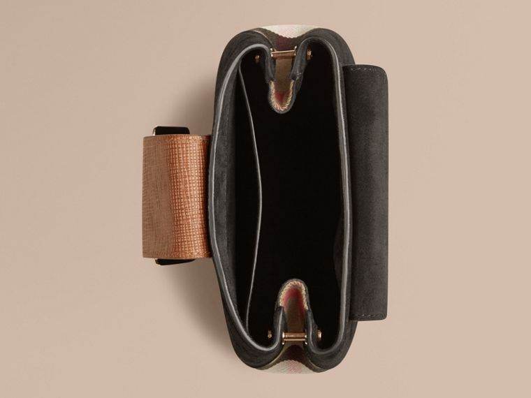 Black The Small Square Buckle Bag in English Suede and House Check - cell image 4