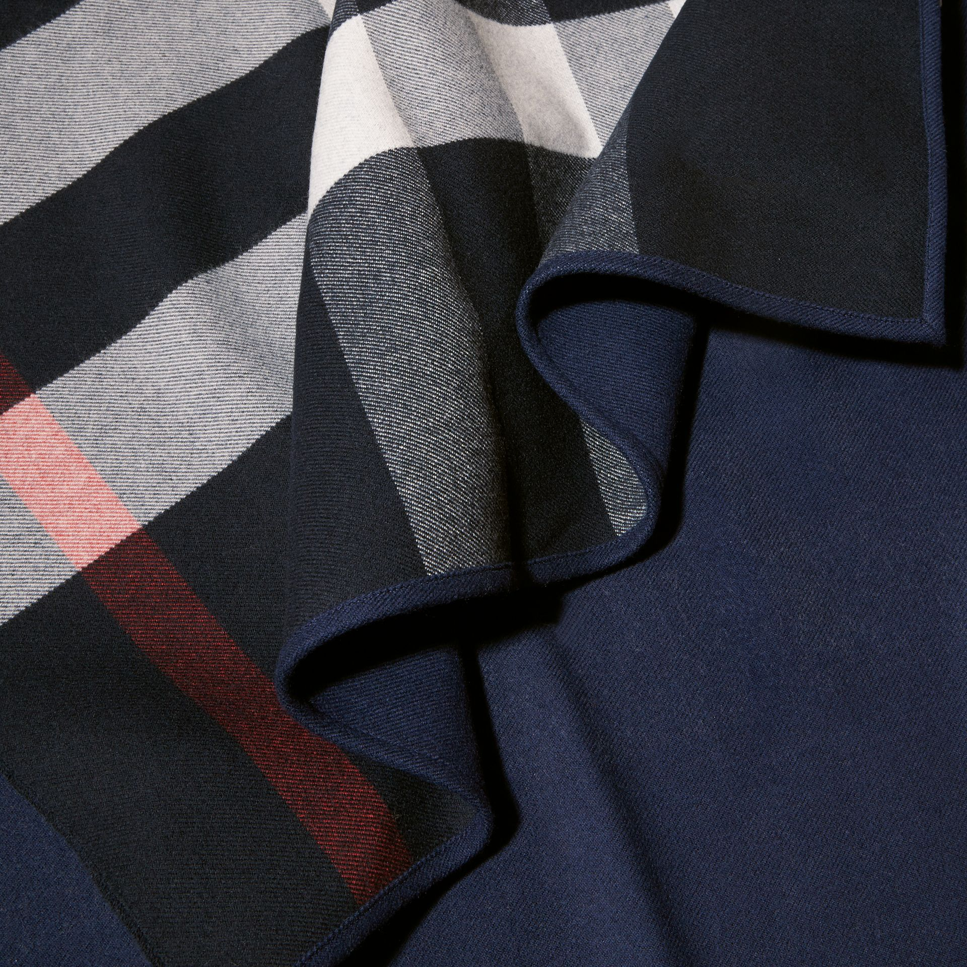 Reversible Check Merino Wool Poncho in Navy - Women | Burberry - gallery image 2