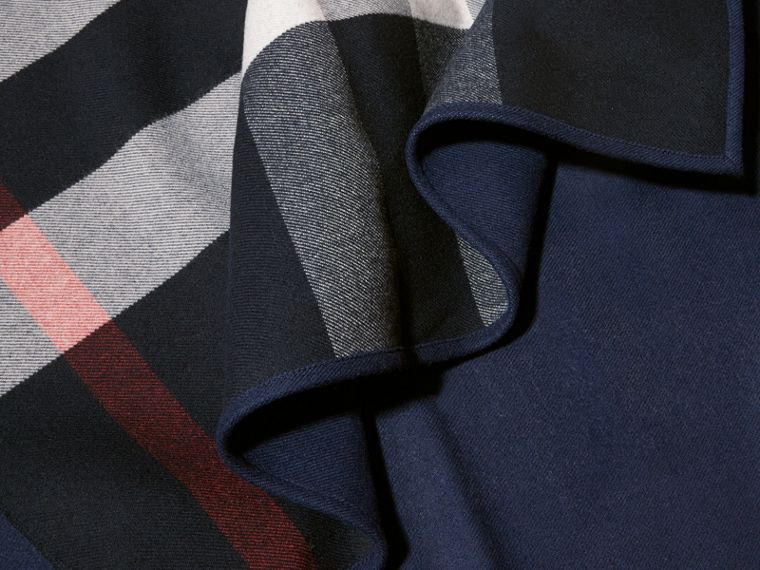 Reversible Check Merino Wool Poncho in Navy - Women | Burberry - cell image 1