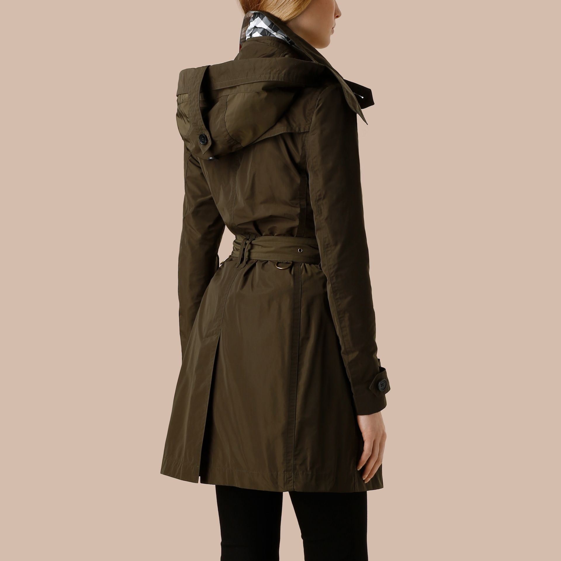 Dark olive Taffeta Trench Coat with Detachable Hood Dark Olive - immagine della galleria 3