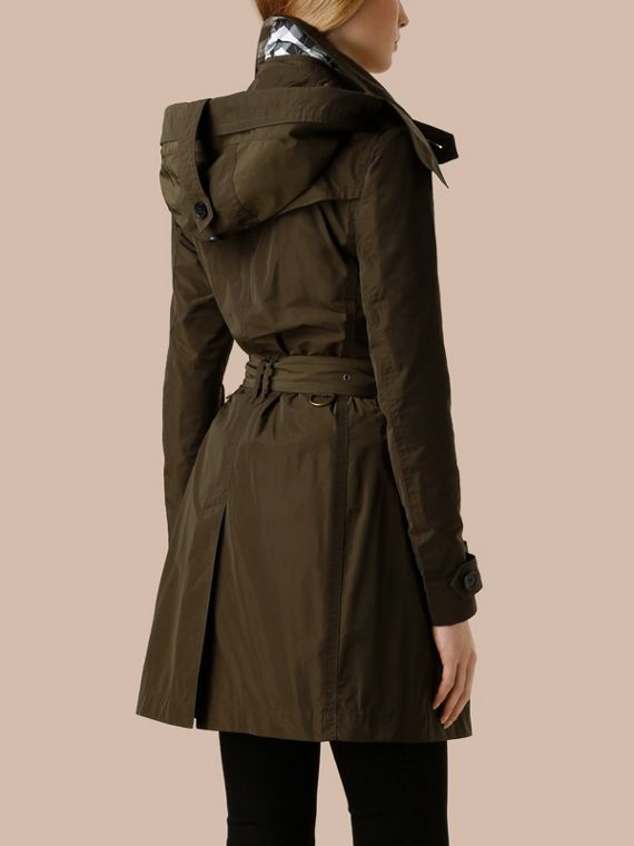 Taffeta Trench Coat with Detachable Hood Dark Olive - cell image 2