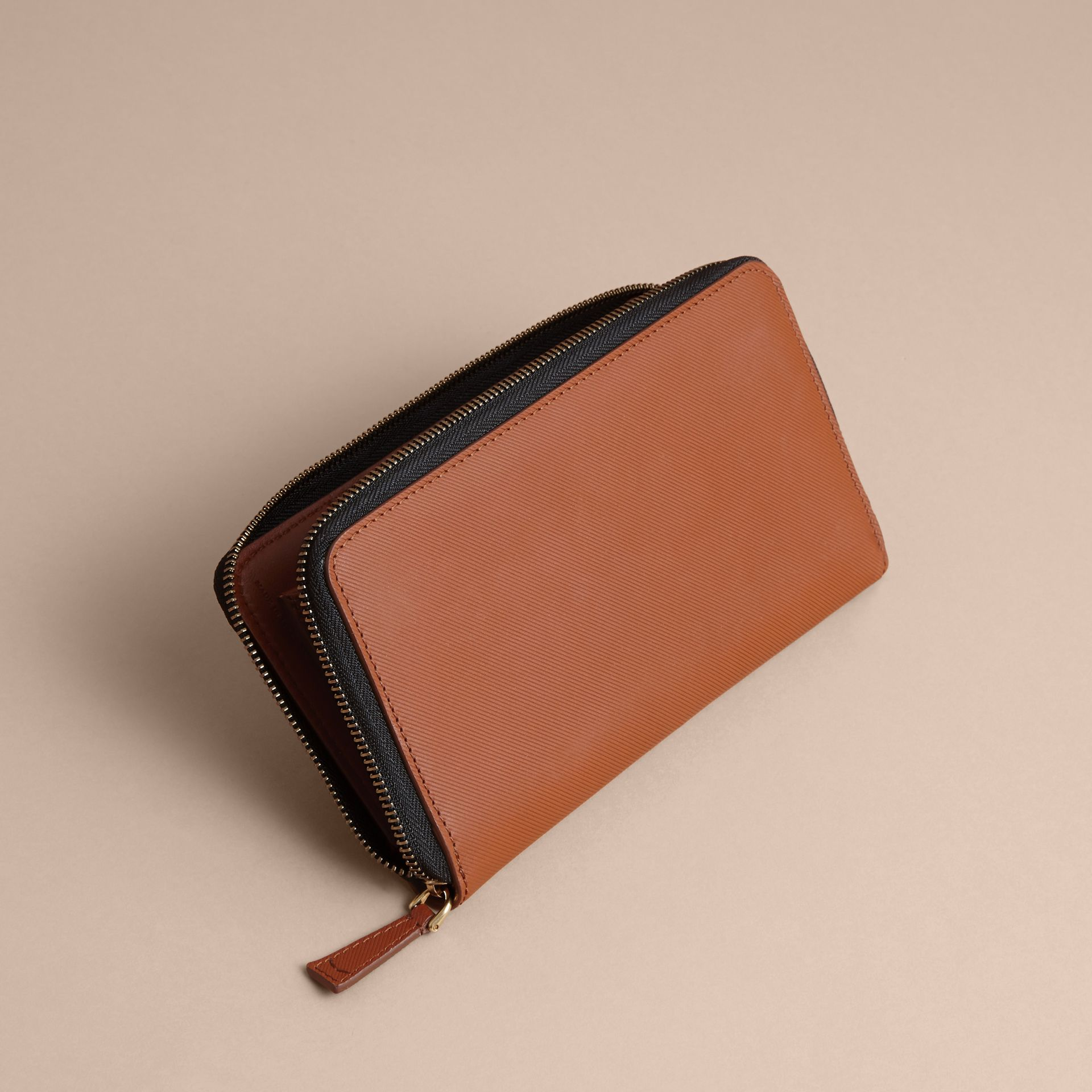 Trench Leather Ziparound Wallet in Tan - Men | Burberry Australia - gallery image 4
