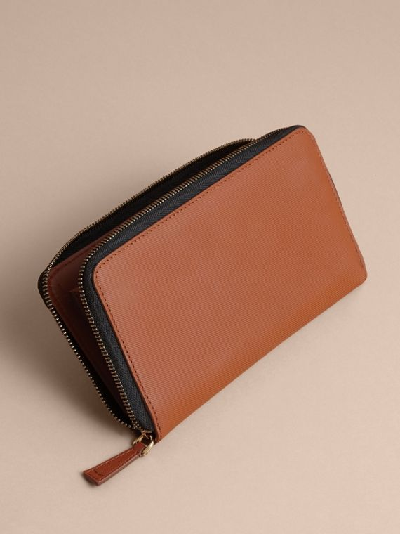 Trench Leather Ziparound Wallet in Tan - Men | Burberry - cell image 3