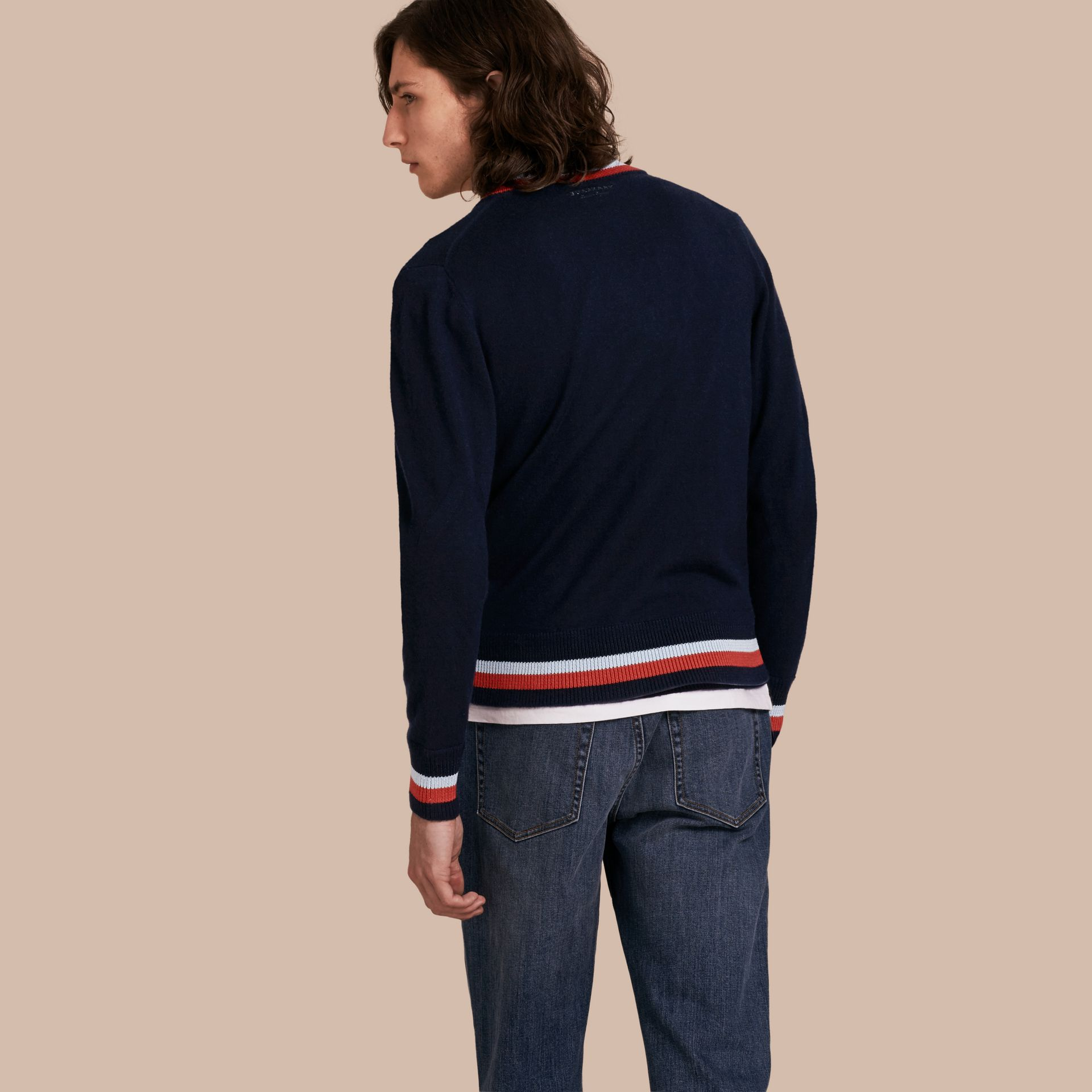 Navy Knitted Cashmere Bomber Jacket - gallery image 3