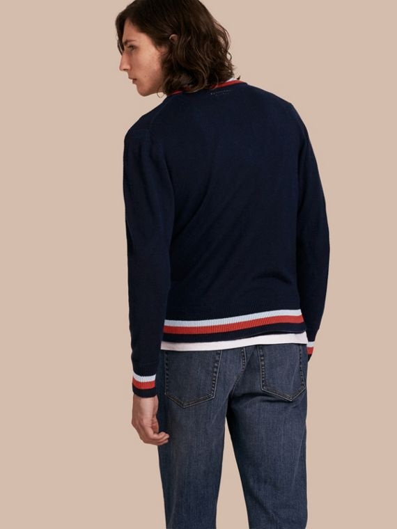 Navy Knitted Cashmere Bomber Jacket - cell image 2