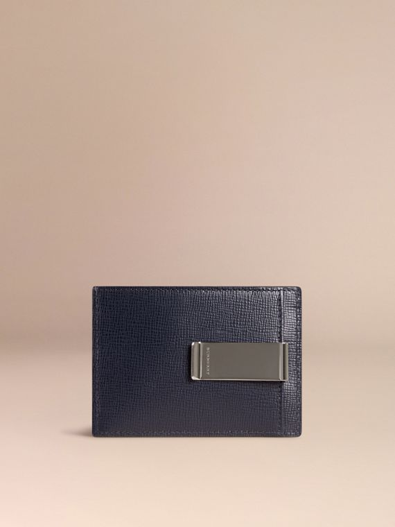 London Leather Money Clip Card Case in Dark Navy - Men | Burberry - cell image 2