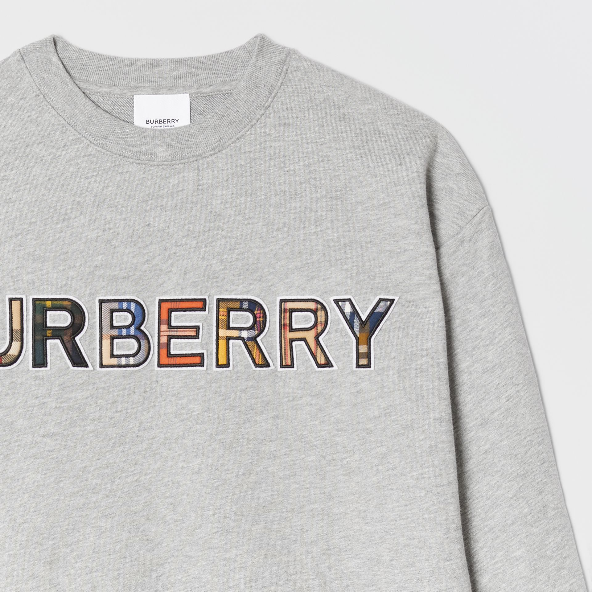 Check Logo Cotton Sweatshirt in Grey Melange | Burberry United Kingdom - gallery image 5