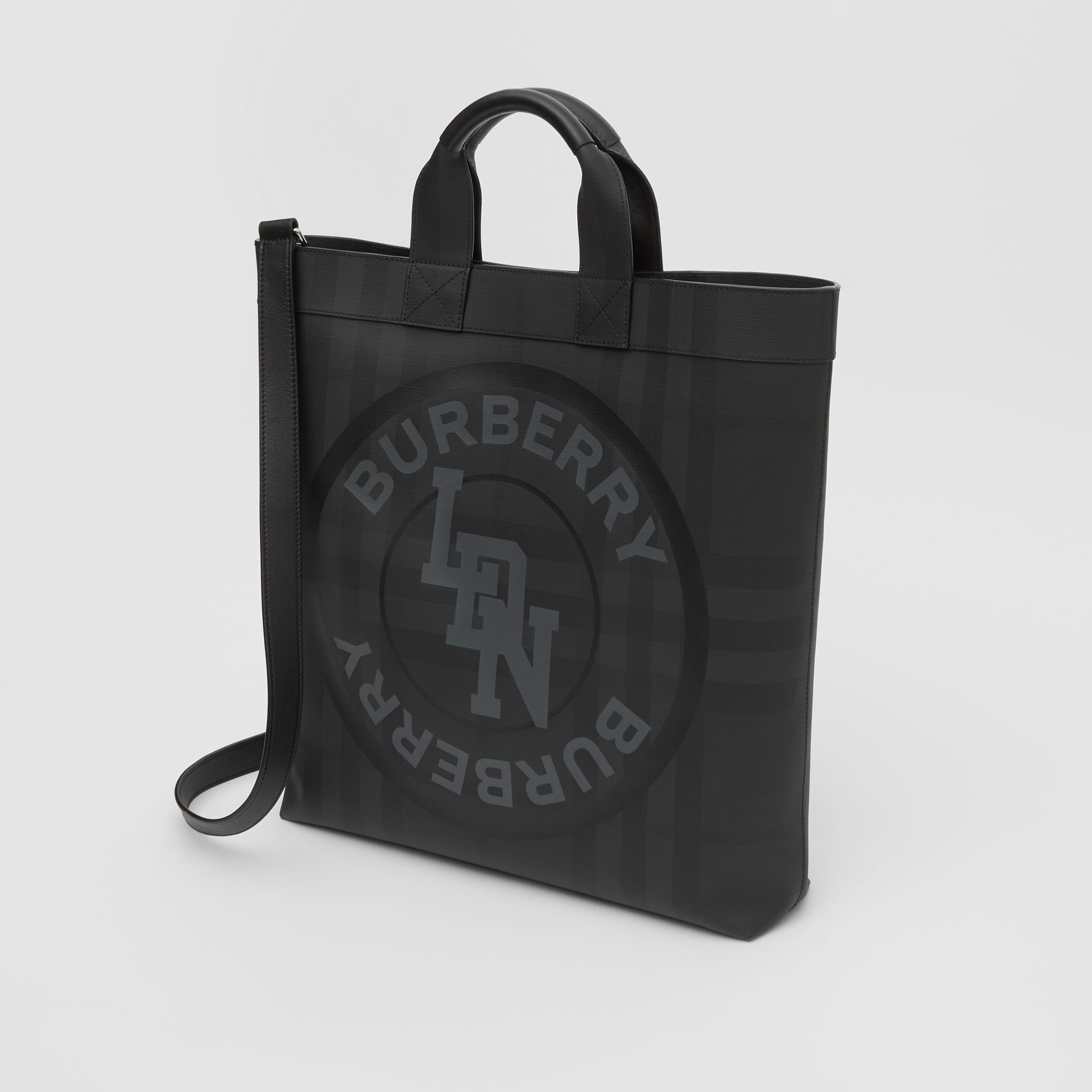 Logo Graphic London Check Tote in Dark Charcoal - Men | Burberry - gallery image 4