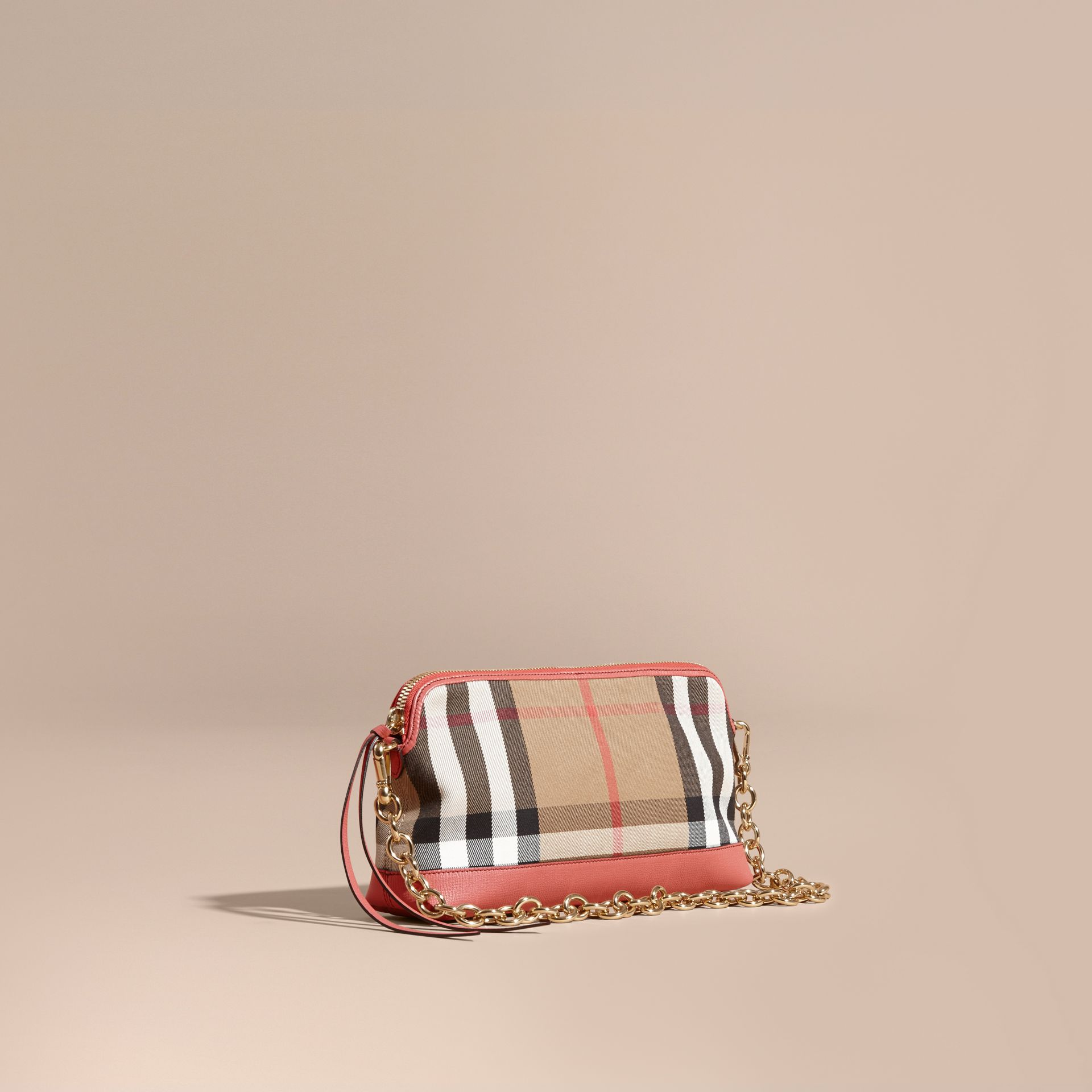 House Check and Leather Clutch Bag Cinnamon Red - gallery image 1