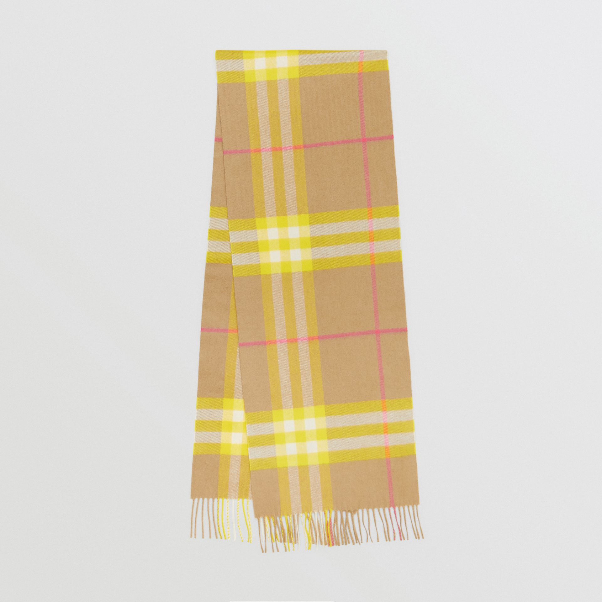 The Classic Check Cashmere Scarf in Archive Beige/yellow | Burberry Australia - gallery image 0