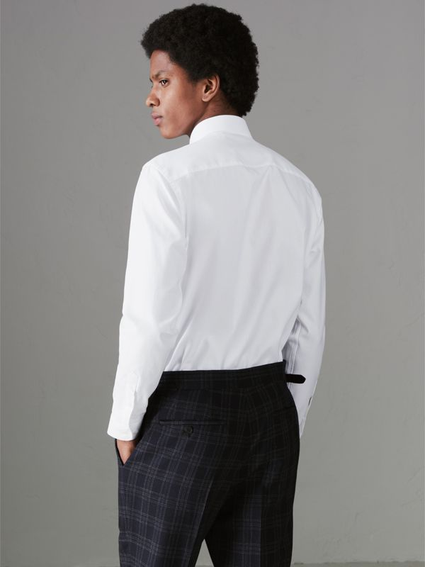 Modern Fit Cotton Shirt in White - Men | Burberry United Kingdom - cell image 2