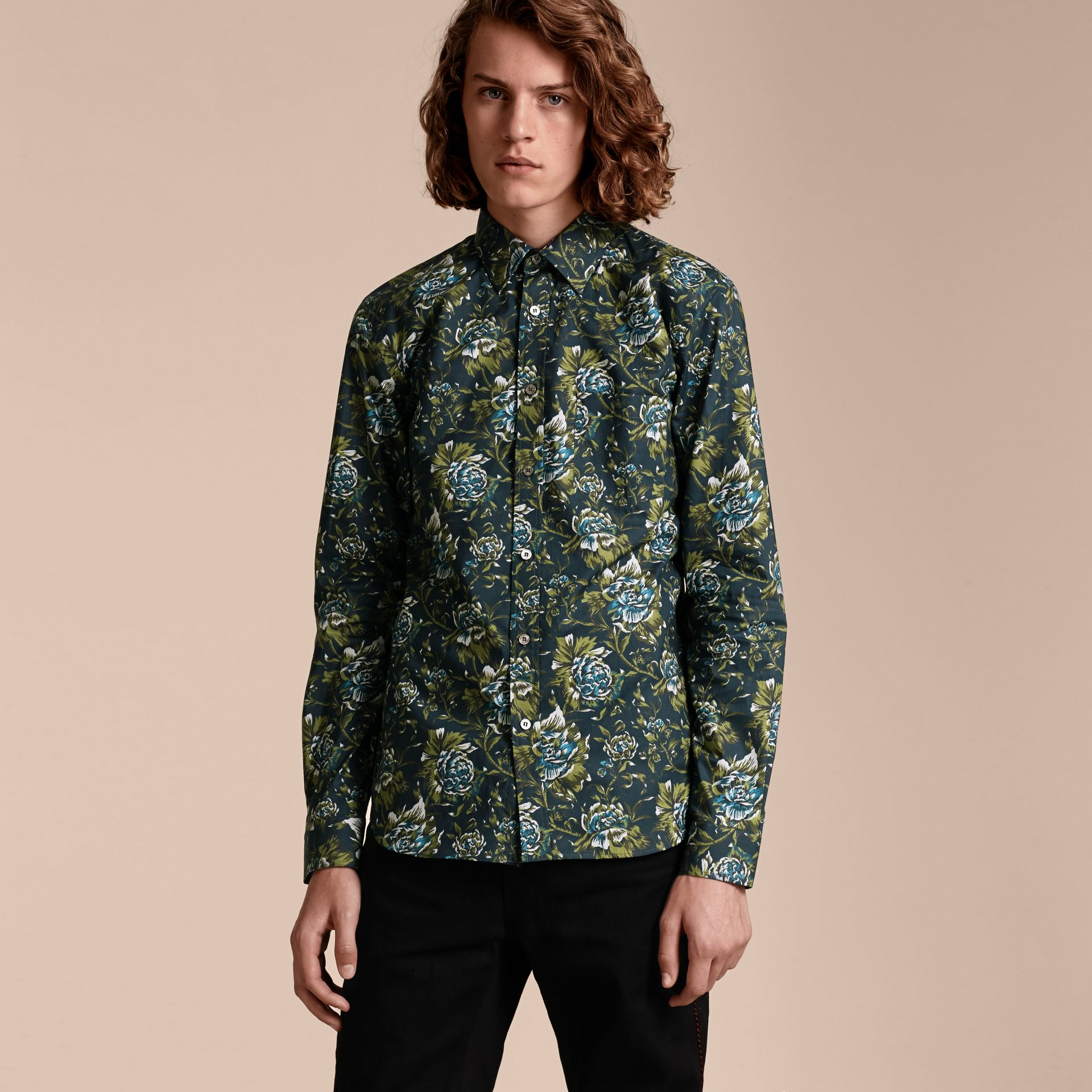 Dark teal green Peony Rose Print Cotton Poplin Shirt - gallery image 6