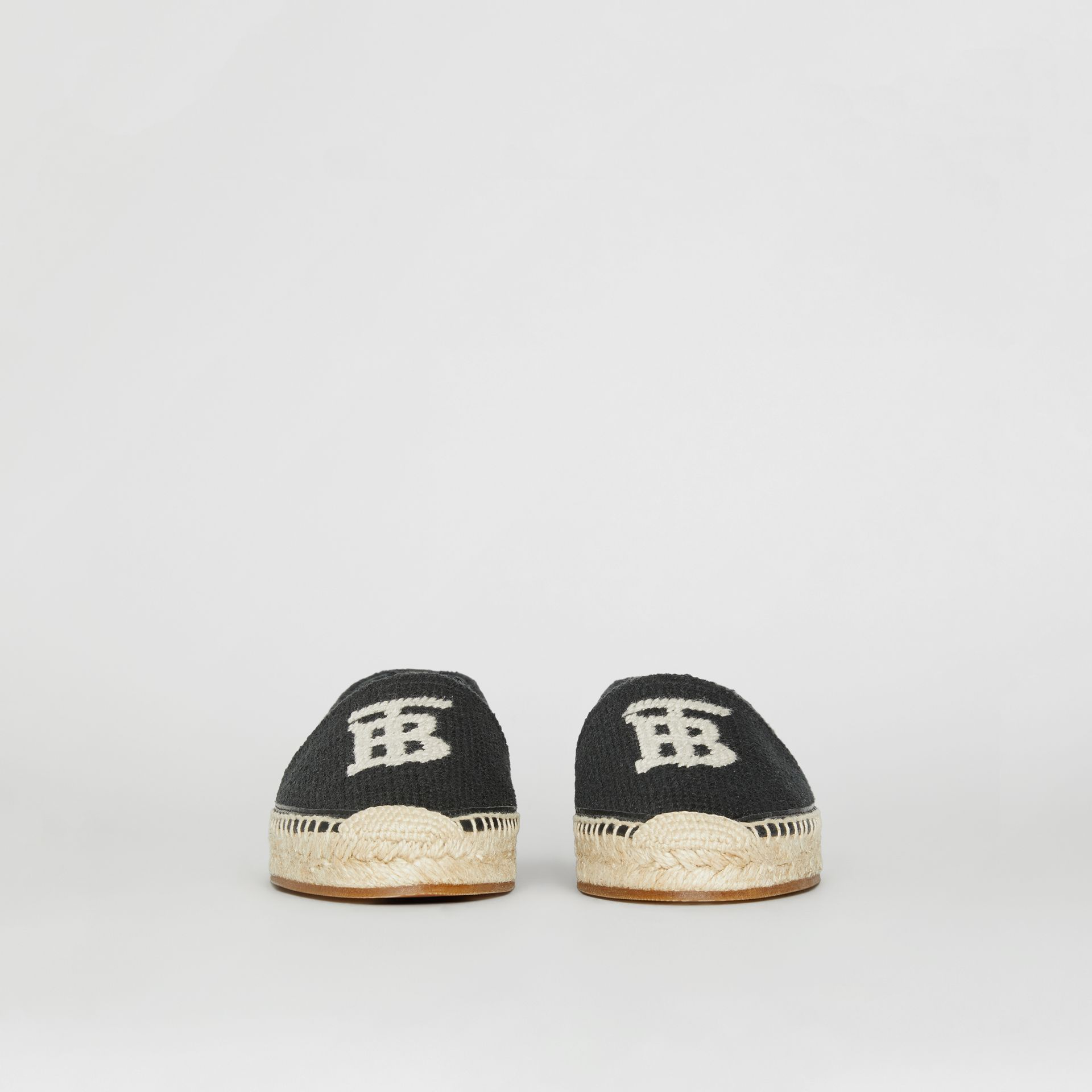 Monogram Motif Cotton and Leather Espadrilles in Black/ecru - Women | Burberry United Kingdom - gallery image 3