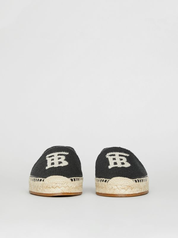 Monogram Motif Cotton and Leather Espadrilles in Black/ecru - Women | Burberry Australia - cell image 3