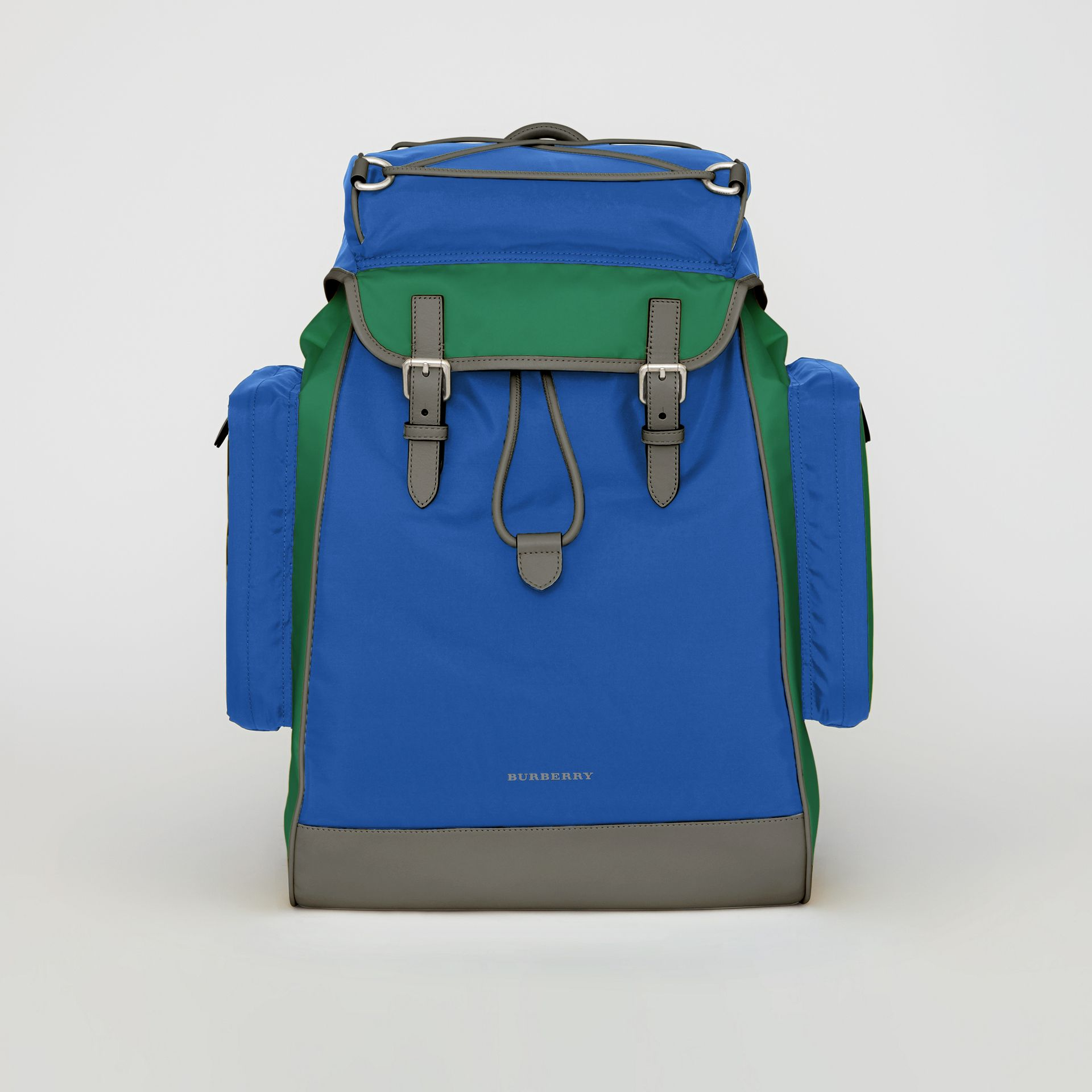 Tri-tone Nylon and Leather Backpack in Dark Canvas Blue - Men | Burberry - gallery image 0