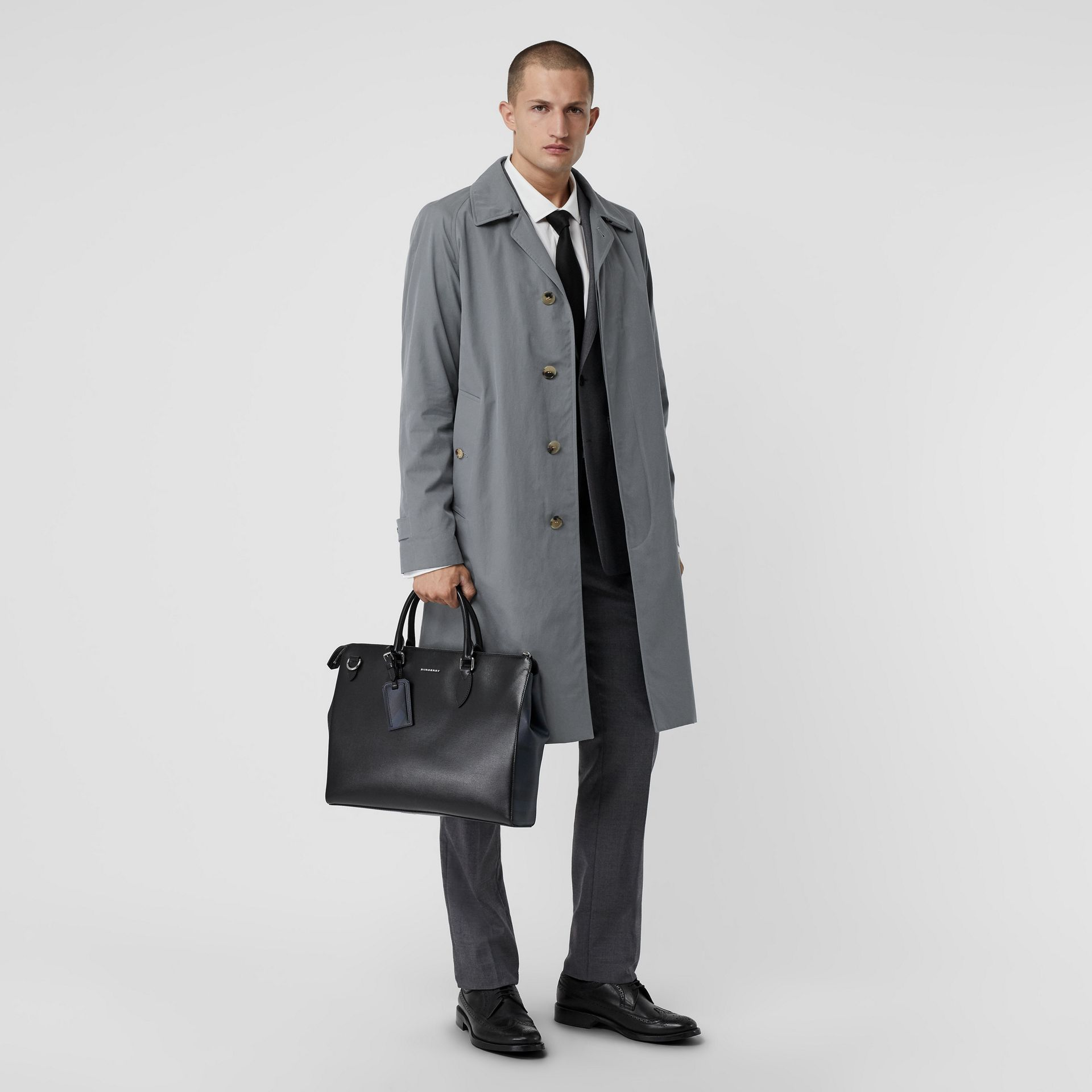 Large London Leather Briefcase in Black - Men | Burberry Australia - gallery image 1