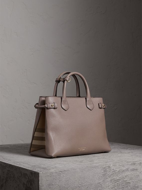 Sac The Banner medium en cuir et coton House check (Gris Chardon) - Femme | Burberry