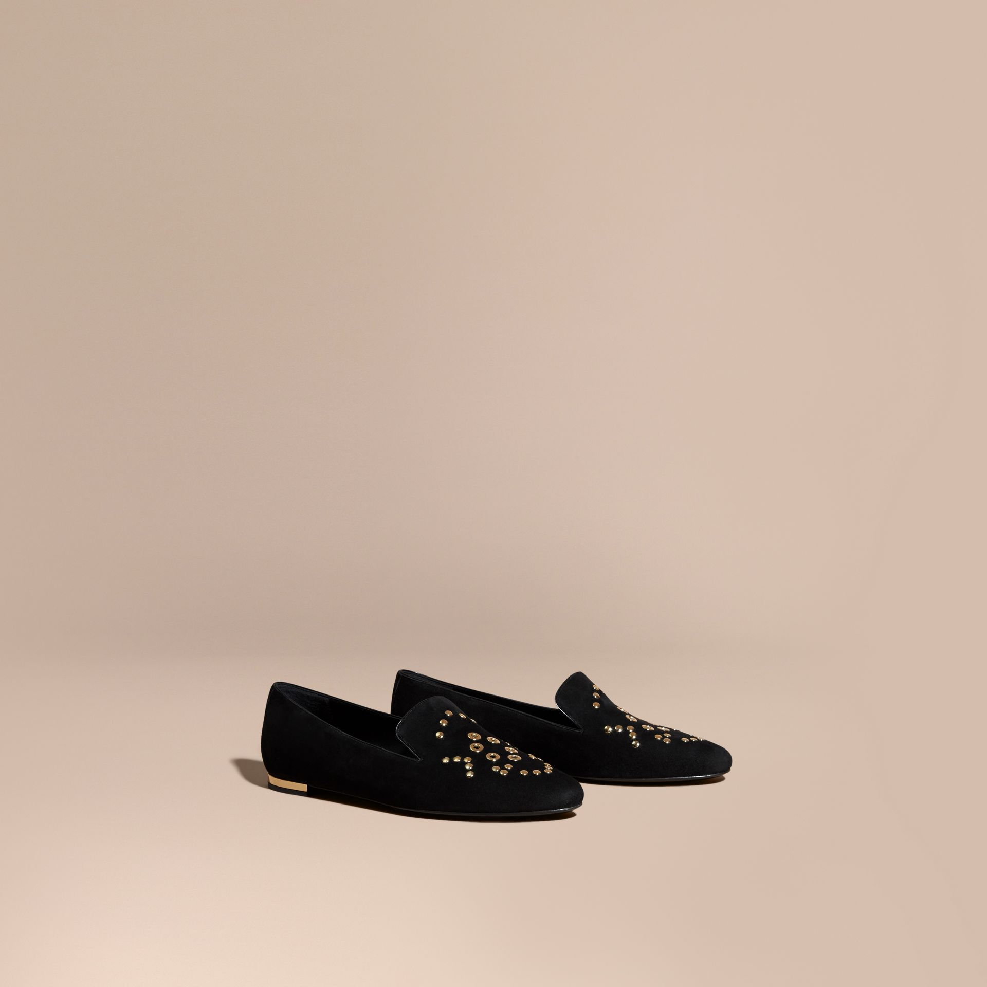 Rivet and Eyelet Detail Suede Loafers - gallery image 1