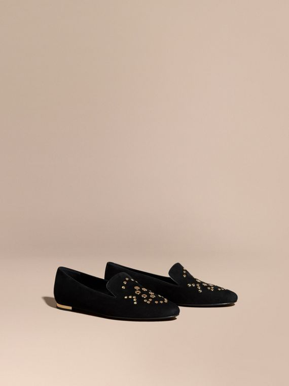 Rivet and Eyelet Detail Suede Loafers