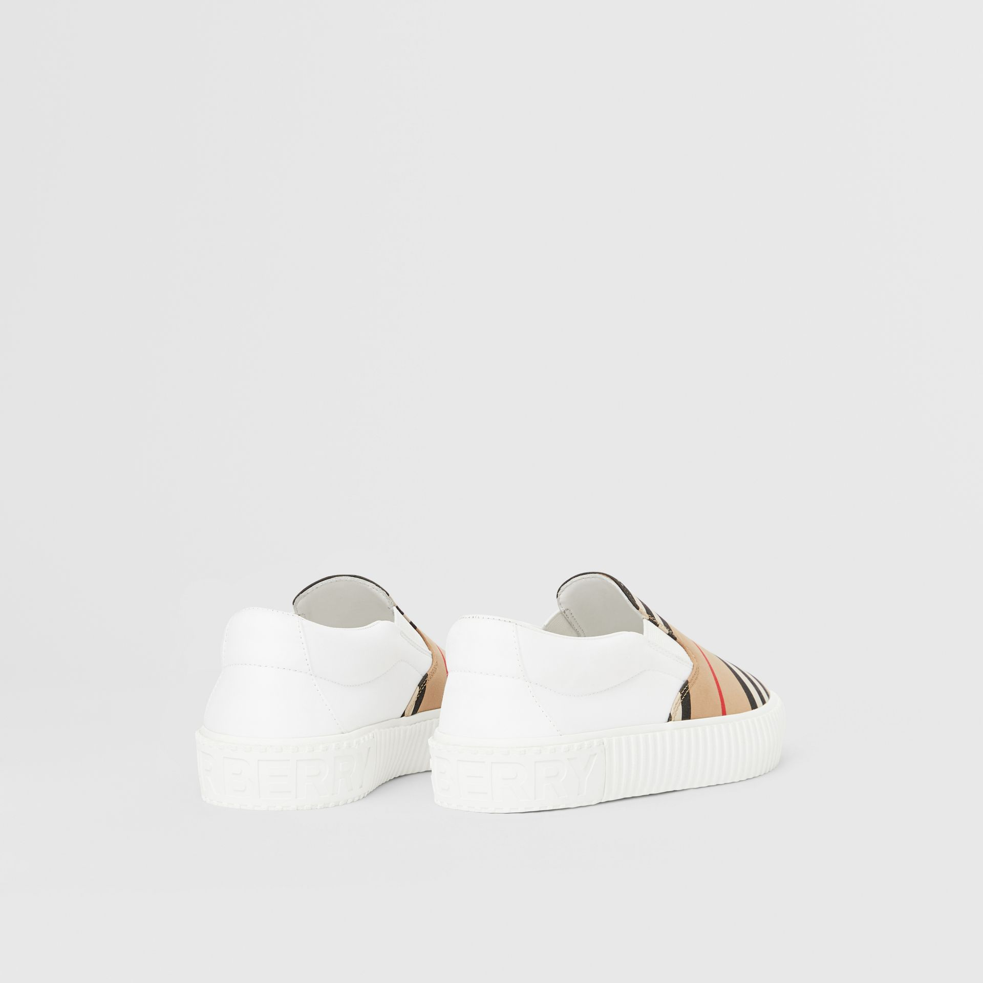 Icon Stripe Cotton Slip-on Sneakers in Archive Beige - Children | Burberry United States - gallery image 2