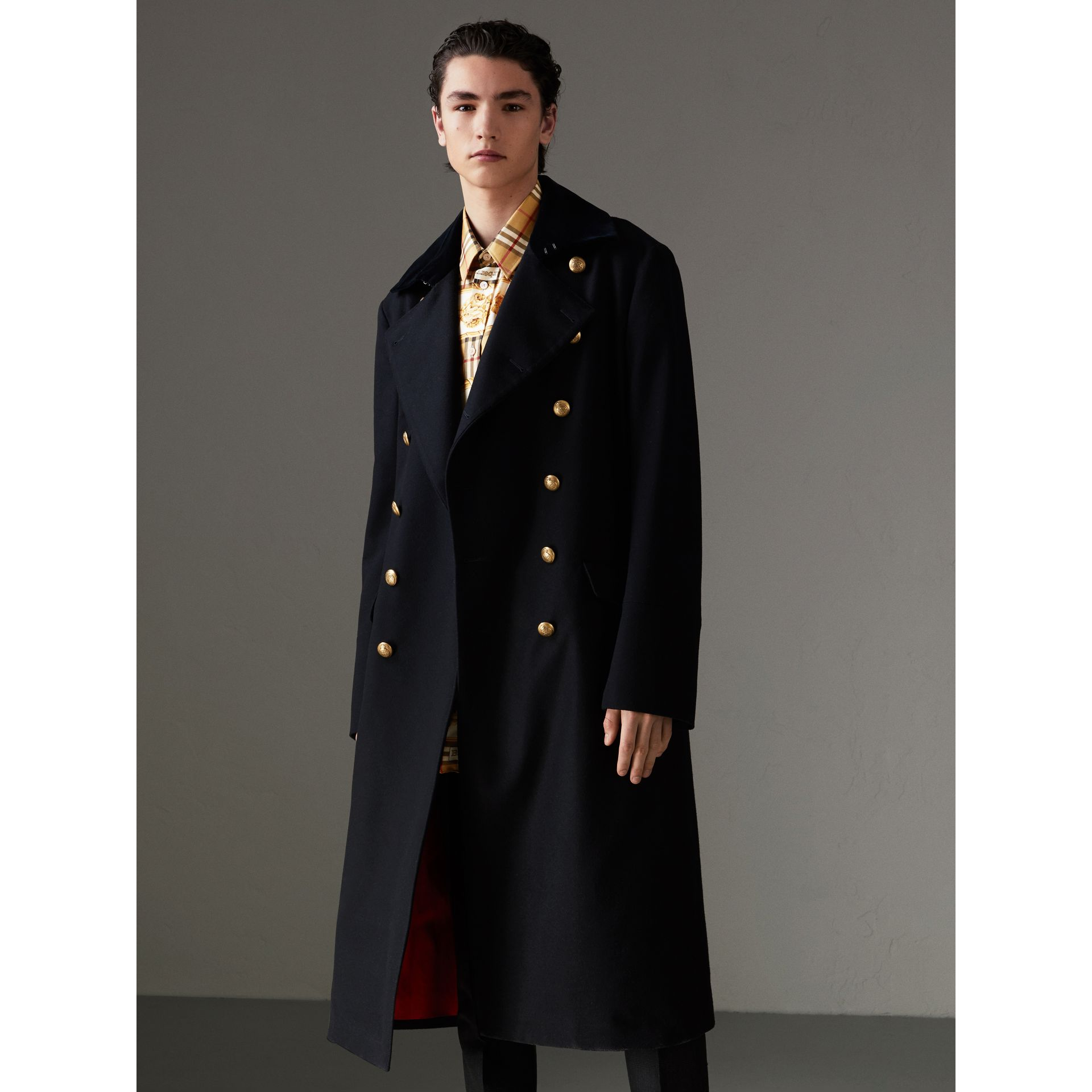 Velvet Collar Doeskin Wool Military Coat in Dark Navy | Burberry - gallery image 5