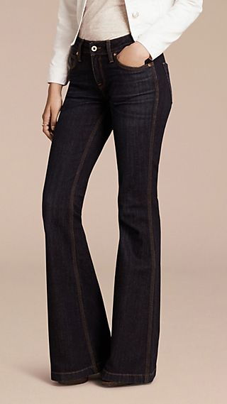 Flared Stretch Denim Jeans
