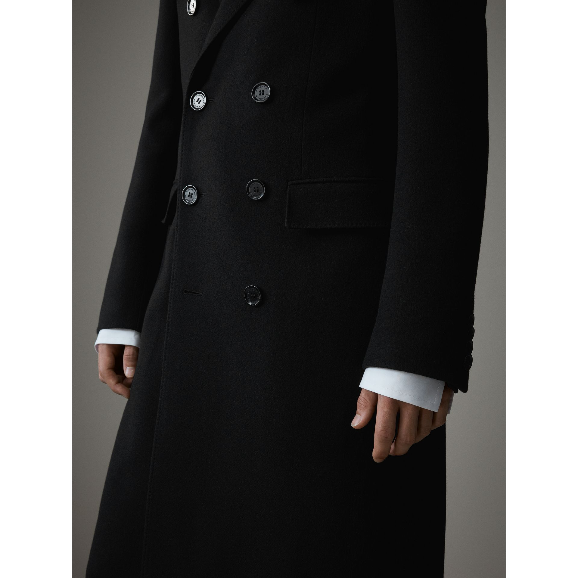 Cashmere Double-breasted Chesterfield in Black - Men | Burberry Australia - gallery image 6