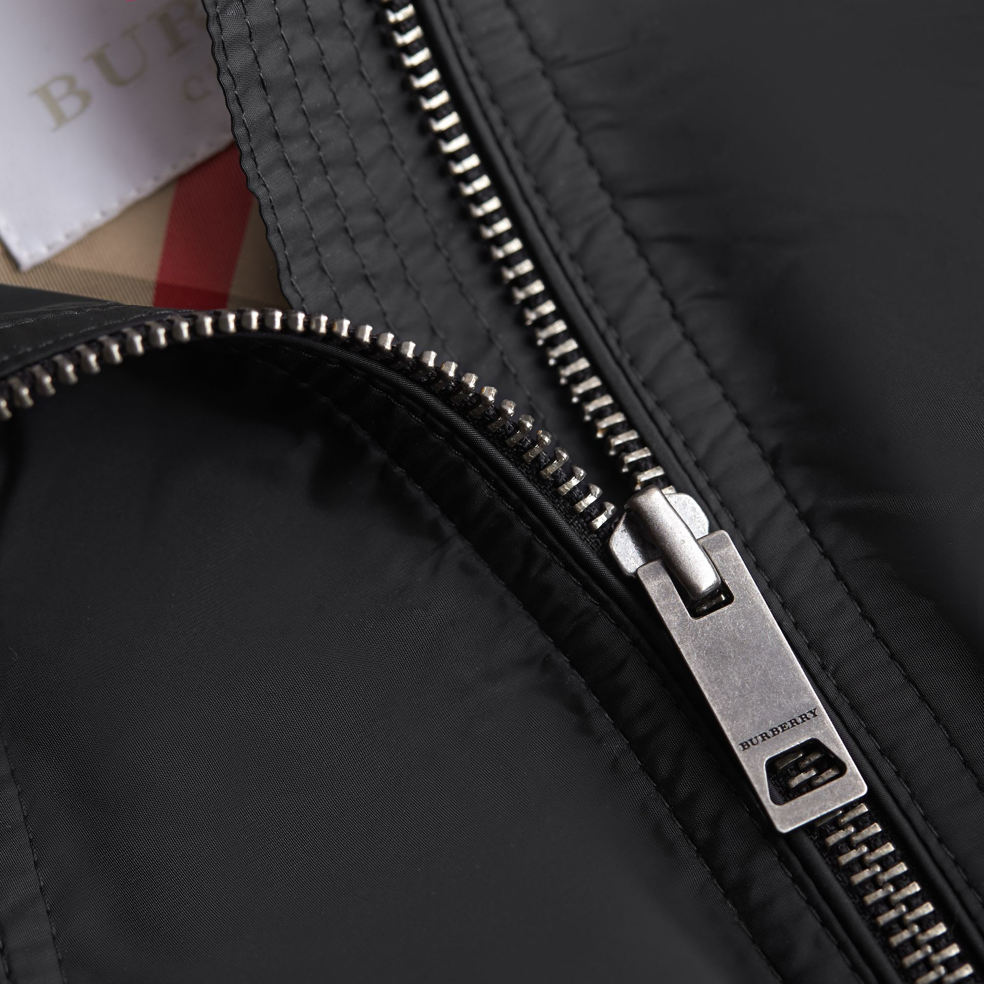 Hooded Packaway Technical Jacket in Black - Girl | Burberry - gallery image 2